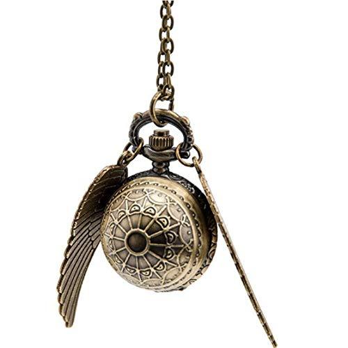 LouiseEvel215 Elegante Snitch quarzuhr charmante Vintage engelsflügel taschenuhr anhänger Uhr Halskette Kette für männer Frauen