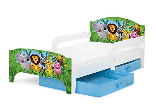 Leomark Smart Holzbett Kinderbett 140x70 Funktionsbett Einzelbett Mit Matratze Schublade Sehr Einfache Zusammenbauen Jugendbett Juniorbett Praktisches Und Bequemes Bettgestell Kinderzimmer Motiv: Safari Zoo Tiere