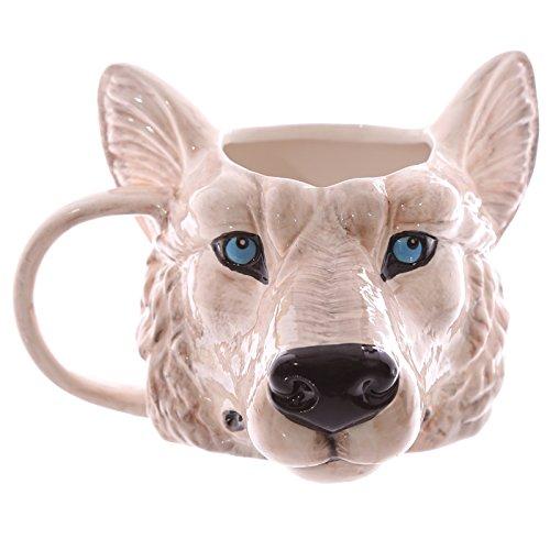 GUIDEB Wild Wolf Abenteuer Kreative Keramiktasse Kaffeetasse Wolfskopfform Becher Wolf Ton Tierkopf Becher Tasse