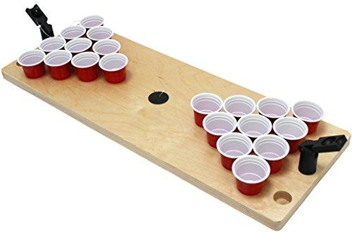Fun Cooperation Shot Pong Premium ! Ein Hochwertiges Trinkspiel für jede Party! inkl. 25 Orginal Mini red cups| Die perfekte Geschenkidee! | Der Mini Beer Pong Tisch für jede Party | Vodka Pong