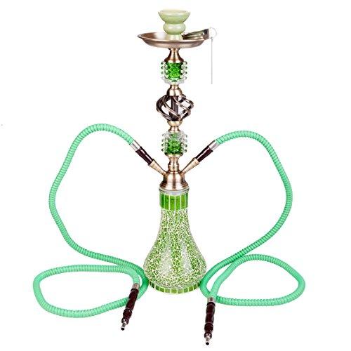 DXP Wasserpfeife Shisha Hookah Mit 2 Schläuchen Ca.55cm Inkl. Kohlezange Und Zubehör NEU Grün