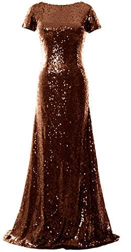 MACloth - Robe - Trapèze - Manches Courtes - Femme Rouge - Bronze