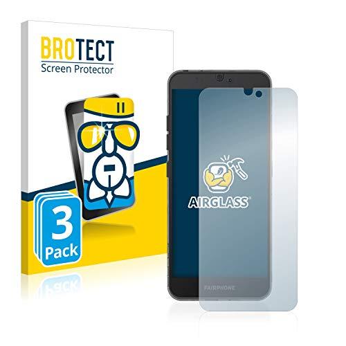 brotect pellicola protettiva vetro compatibile con fairphone 3 (3 pezzi) schermo protezione durezza 9h, anti-impronte, airglass