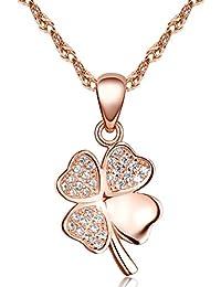 Unendlich U Klassisch Vierblaettriges Kleeblatt Damen Halskette 925 Sterling Silber Zirkonia Anhänger Kettenhänger, Rosegold
