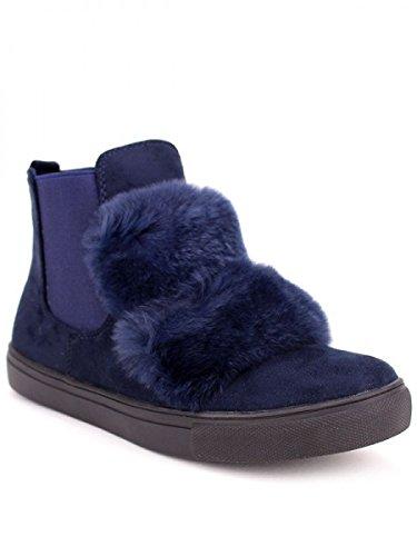 Cendriyon, Boots blues fourrure MOZAO Chaussures Femme Bleu