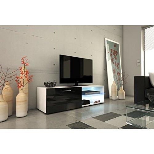 Kora meuble tv 120cm avec éclairage led - noir brillant