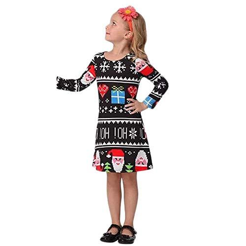 OdeJoy Mädchen Lange Ärmel Kleid Brief HerzGedruckt Kleid Niedlich Mini Kleid Weihnachten Alter...