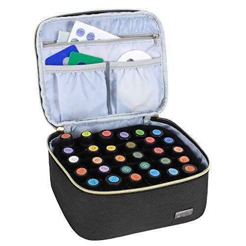 Luxja Ätherische Öle Tasche, Ätherische Öle Aufbewahrung Tasche für Ätherische Öle und Zubehör - für 30 Flaschen (5ml-15ml, auch geeignet für Rollerflaschen), Schwarz