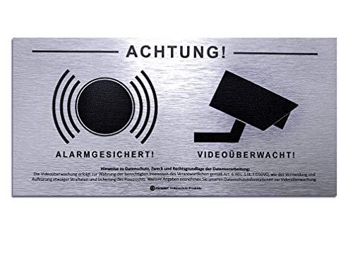 DSGVO+BDSG Datenschutz-Schild Info-Aushang Video-Überwachung Alarm-Gesichert 10x20cm Aluminium gebürstet