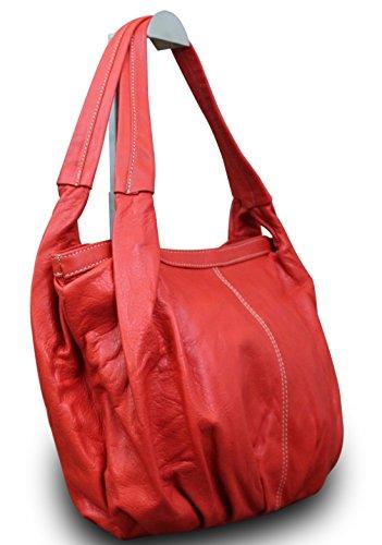 Made in Italy Damentasche Schultertasche Beuteltasche Shopper Bag Nappaleder, Farbe:Pink Rot