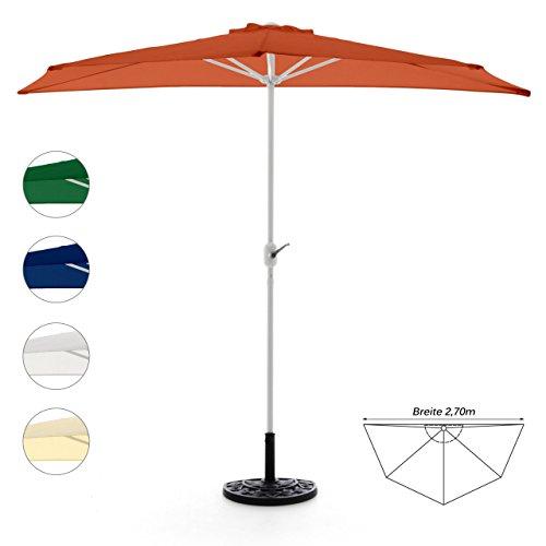 Nexos GM35098_SL Komplett-Set Sonnenschirm Terracotta Halb-Schirm Balkonschirm Wandschirm halbrund 2,70m mit passendem Schirmständer und Schirmschutzhülle, Orange, 270 x 140 x 235 cm