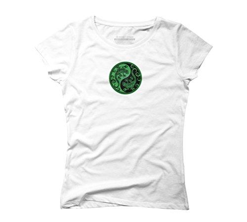 Green and Black Yin Yang Geckos Women's Graphic T-Shirt - Design By Humans White