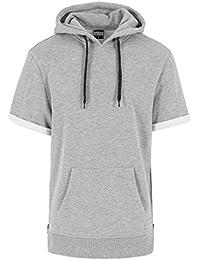 Urban classics pull à capuche pour homme à manches courtes à capuche side 2 poches zippées