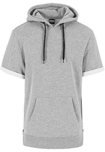 Urban Classics Herren Sweatshirt Kapuzenpulli Short Sleeve Side Zipped Hoody Grau (Grau) X-Large