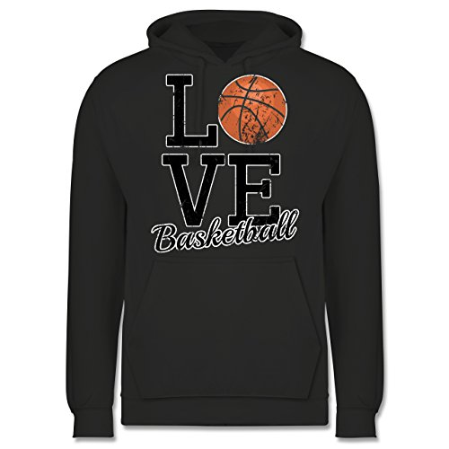 Basketball - Love Basketball - Männer Premium Kapuzenpullover / Hoodie Dunkelgrau