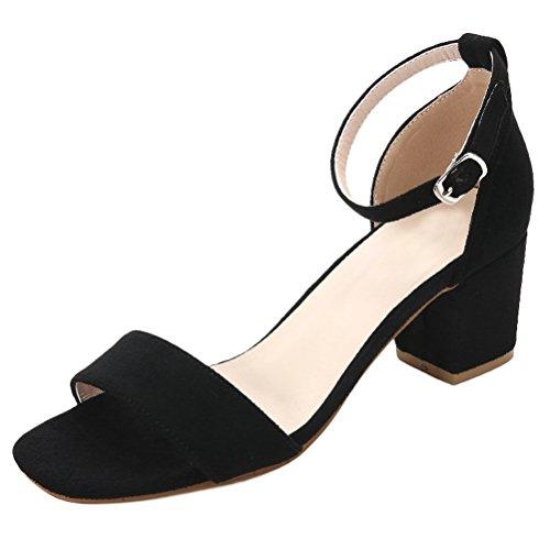 Vogstyle Nuovo Donna Sandali Punta Aperta Alla Caviglia Scarpe Con Cinturino Stile 1-Nero