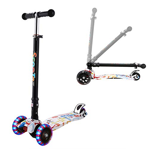 WeSkate Kinderscooter Kinderroller höhenverstellbarer und abnehmbarer Tret-Roller mit 4-PU blinkenden LED Rollen Graffiti Scooter (weißer Buchstabe G)