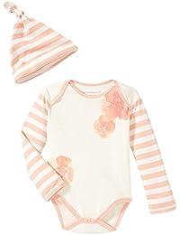 Burt's Bees Baby Girls' Organic Poppy Floral Long Sleeve Bodysuit and Hat