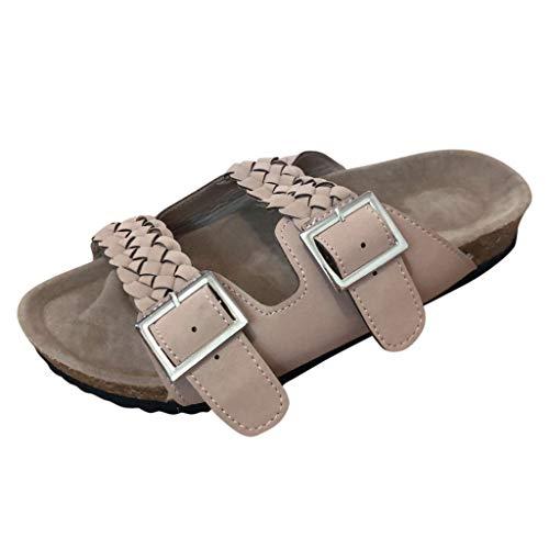 r Sandalen Bohemian Flach Sandaletten Sommer Strand Schuhe,Damen Knöchel elegant gewebt im Freien flach Strand Sandalen Schuhe Hausschuhe ()