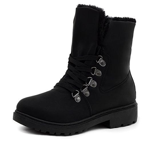 Damen Winter Schnür Boots Schuhe Stiefel mit Kunstfell in Lederoptik warm gefüttert Alles Schwarz 38