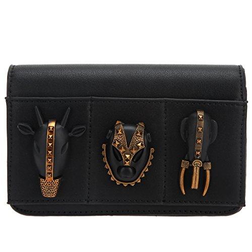 2cdc3ed7b Bonjanvye Animal Evening Clutches for Prom Pu Leather Clutch Purse Chain  Black