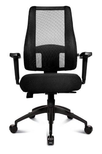 Topstar LT20BTW500 Bürostuhl Lady Sitness Deluxe inklusive höhenverstellbare Armlehnen, Stoff- und Netzbezug schwarz