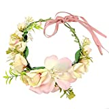 JZK rosado marfil flor diadema corona para novia dama de honor niña flores para boda fiesta carnaval para niños y adultos, corona floral tiara guirnalda corona de flores diadema hawaii