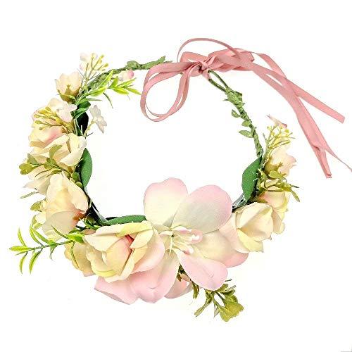JZK® Rosa Gänseblümchen Blumenkranz blumen Haarband Blumenstirnband, für Mädchen Frau Braut Brautjungfer, für Hochzeit Geburtstag Party Festival (Rosa)
