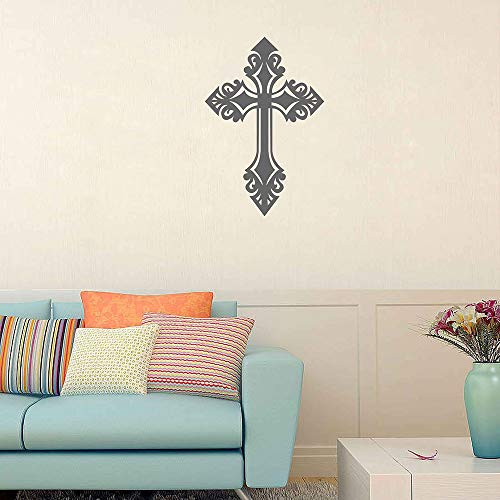 Christian Cross Vinyl Wandtattoo Cross Wall Art Schrift Aufkleber Wandtattoo Art Chritian Dekoration Christian Decals ik3879 (Art Cross Christian)