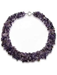 Bling Jewelry Purple Amethyst Chip simulé plaqué argent collier Bib de pierre gemme