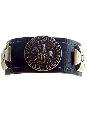 Lederarmband Siegel der Templer Farbe schwarz Kreuz Ritter