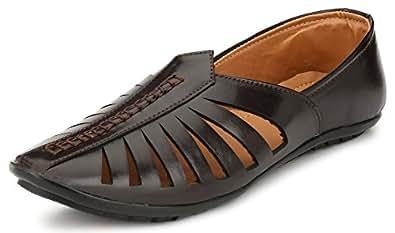 REVOKE Men's Black Faux Leather Mojari - 6