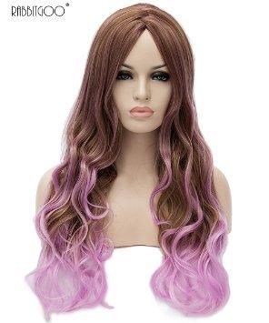 Rabbitgoo Perruque 2 couleurs Rose et Brune Longue Ondulée Résistant à La Chaleur pour Femme 70CM
