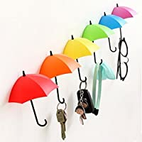 6 Pieces Self Adhesive Wall Door Key Clothes Hook Holder Rack Umbrella Decorative Accessories Home Decor Accents Gift