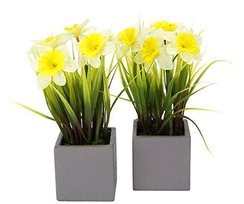 Flair Flower 020260WG Narzissen I.T. 2er Set Polyester, Kunststoff, Keramik, weiß/gelb, 22 x 10 x 10 cm