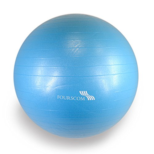 FOURSCOM® Gymnastikball mit Pumpe 75CM Berstsicher Fitnessball Yoga Ball Blau