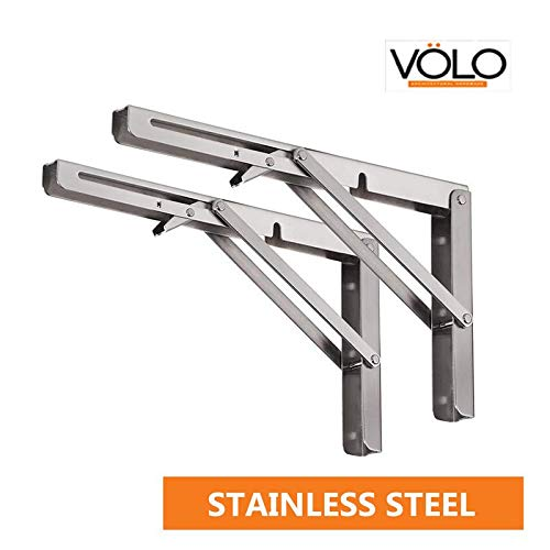"""Volo Premium Heavy Duty 300mm/ 12"""" Foldable Stainless Steel Shelf Brackets for Wall/Multipurpose Bracket with Fittings for fold Down Table or fold Down Racks."""