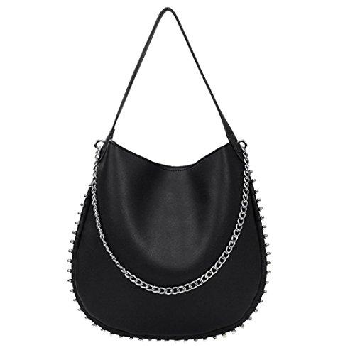 UFACE Frau Vintage Rivet Kette Leder Schulter Messenger Bag Frauen Nieten Reine Farbe UmhäNgetaschen Corssbody & Handtasche (Schwarz)