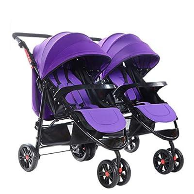 MRXUE Twin bebé Cochecito Sentarse/Recumbent Ligero Plegable Desmontable Ultralight BB Carretilla de Tres Ruedas Adecuado para 0-3 años de Edad