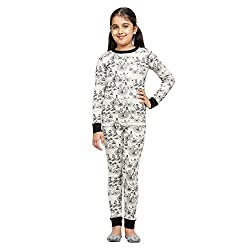 Nuteez Grey Crew Neck Full Sleeve Top & PJ Set For Girls