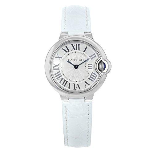 Cartier Pallone Blu di Cartier Donna 33mm Bracciale pelle contenitore acciaio inossidabile quarzo orologio W6920086