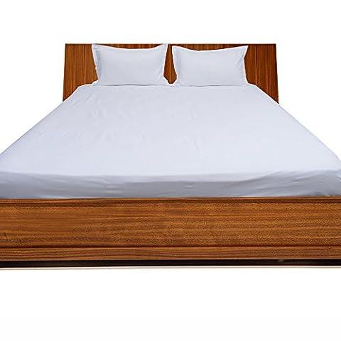 1000TC Finition 100% coton égyptien élégant de haute qualité 3Drap-housse massif (poche taille: 50,8cm), Coton, White Solid, UK_Single_Long