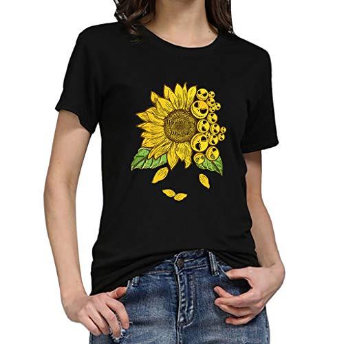 Frauen Kurzarm T-Shirt,Kurzärmliges bedrucktes Sonnenblumen-T-Shirt in Übergröße Drucken Sie lustige Sonnenblume Kurzarm T-Shirt Bluse Tops M-3XL -