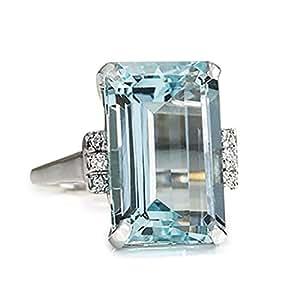 Women Diamond Rings,Yukong Topaz Ring Rhinestone Engagement Wedding Jewelry Party Rings (Blue, 6)