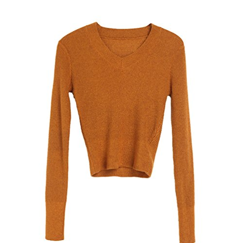 WanYang Femmes Casual Pull V Collier Manches Longues Pull Blouse Pull Tricoté Sweater Marron