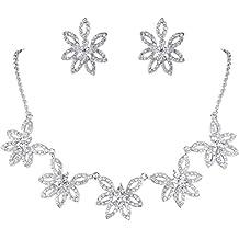 EVER FAITH Austriaco cristallo di figura marchesa Fiore Prom insieme dei monili silver-tone trasparente N06449-1