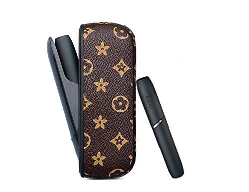 PU Hülle für IQOS 3.0 Zigarette Case Kunstleder Kratzfest Tasche Schutzhülle Lederetui Anti-Fall Box (BRAUNE Blume)