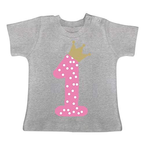 Geburtstag Krone Mädchen Erster - 1-3 Monate - Grau meliert - BZ02 - Baby T-Shirt Kurzarm ()