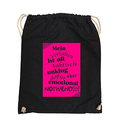 Comedy Bags - Mein Verhalten ist oft taktisch unklug - ZETTEL - Turnbeutel - 37x46cm - Farbe: Schwarz / Pink Schwarz / Pink