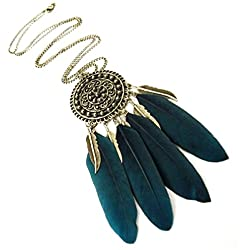 Borlas Dreamcatcher Largo Collar de Plumas (Verde)